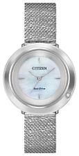 Citizen Eco-Drive Women's Ambiluna Silver-Tone Mesh Band 32mm Watch EM0640-58D