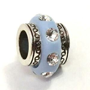 Authentic Brighton ABC Dazzle Spacer Light Blue Bead, J90846, Silver Finish, New