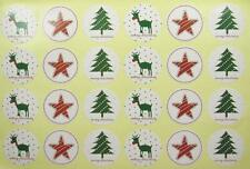 CHRISTMAS STICKERS 48 ROUND 28mm labels seals food gift wrapping treat bags xmas