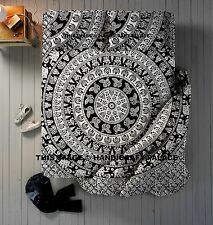 4 PCs Indian Elephant Mandala Duvet Cover with Flat Sheet & Pillow Sham Queen