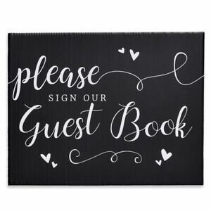 """3-Pack Please Sign Our Guest Book Wedding Party Table Decoration Sign 8.5""""x11"""""""