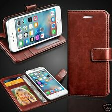Brown Rich Luxury Leather Wallet Flip Case Cover for Various Smart PHONES Models Apple iPhone 6s