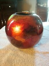 Heather Ann Creations- Decorative Ceramic Vase- Foiled and Lacquered-New 7 inch