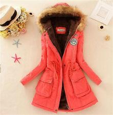 Watermelon red XXLWomens Warm Long Coat Fur Collar Hooded Jacket Winter Parka