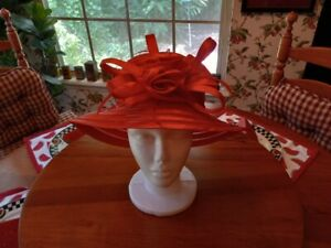 Red Church Derby Dress Wide Brim Hat Rose Red Hat Society Lady