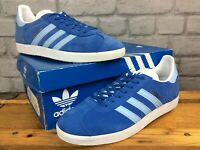ADIDAS ORIGINALS MENS UK 8 EU 42 GAZELLE BLUE WHITE SUEDE TRAINERS LG
