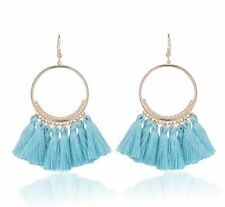 Gold Sky Blue Long Drop Tassel Fashion Earring Boho Festival Party Boutique Uk