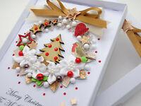 Handmade CHRISTMAS CARD Personalised Xmas Tree Wreath 3D Gift Box Keepsake