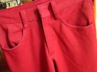 26x30 True Vtg 70s mens RED MOD STRETCH DOUBLEKNIT POLYESTER FLARE PANTS JEANS