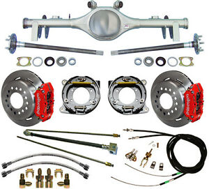 CURRIE 68-72 GM A-BODY REAR END & WILWOOD DISC BRAKES,RED CALIPER,LINES,E-CABLES
