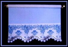 PRETTY BLUE/WHITE ROLLER BLIND  / CURTAIN FOR DOLLS HOUSE - BY SYLVIA ROSE
