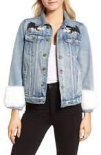 PAM & GELA NWT $495 Feminist Gangsta Denim Jacket Genuine Rabbit Fur Trim Sz XS
