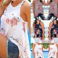 Womens Summer Beach Wear Floral Vest Sleeveless Casual Loose Tops Shirt Blouse