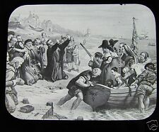 Glass Magic Lantern Slide THE MAY FLOWER PILGRIM FATHERS C1900  AMERICAN HISTORY