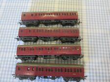 Rake of 4 Triang TT Gauge Maroon Passenger Coaches-Unboxed