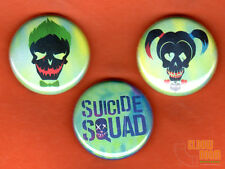"Set of three 1"" Suicide Squad pins buttons Joker Harley Quinn movie"