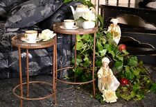 Table Bouillotte Metal Fer Forge Style Glamour Vintage Marron Bords Ajoures