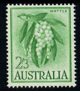 1964 Flower Definitives 2/3 Green-Yellow Wattle - White Paper MUH SG 324a
