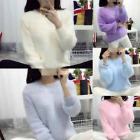 New Women Long Sleeve Mohair Loose Pullover Sweater Ladies Casual Jumper Tops