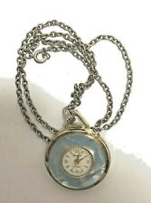 Vintage Necklace Watch - LUCERNE  Blue Enamel. Running