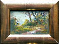 ANTONIO Otmar Janecek 1913-1996: Herbst-Tag vor Bergen Miniatur, Echtgoldrahmen