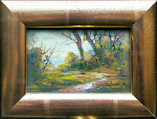 ANTONIO Otmar Janecek (1913-1996) Herbsttag vor  Bergen Miniatur, Echtgoldrahmen