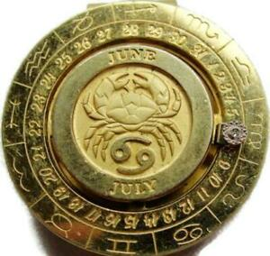 Zodiac 69 Money Clip Moving Diamond Date Pierre Cardin Wallet Cash Cancer Gold T