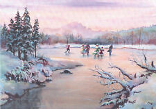 LIMITED EDITION ICE SKATING on POND by Sharon Sharpe