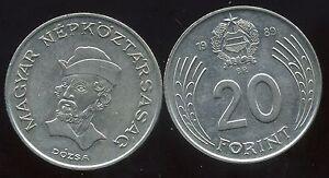 HUNGARY   HONGRIE  20 forint 1989  ( etat )