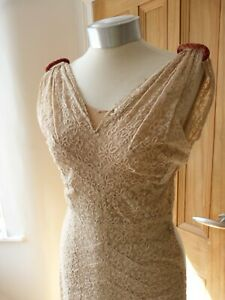 True Vintage 1930's lace evening gown, with silk underskirt, wedding, Downton.