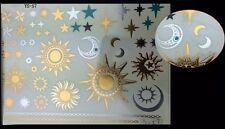 Planche de 47 Tatouages éphémères métallique waterproof. Tatoo soleil lune or