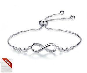 Silber Armband Infinity Damen Diamanten Unendlich Ewigkeit Silber Edelmetall