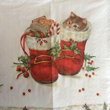 paper napkins decoupage x 2 christmas 21cm