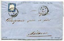 SARDEGNA 1860, busta affr. col 20 cent. da COMO 9/3  annullo austriaco, BELLA.