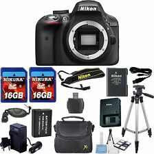 "Nikon D3300 Camera Body Bundle + Extra Battery + 50"" Tripod + 32GB Memory"