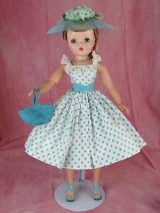 Madame Alexander Cissy Doll Outfit Aqua Polka Dot Sundress w/ Extras Tagged 1957