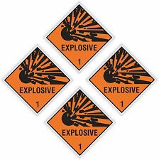 "4x EXPLOSIVE Explosion stickers each=5x5cm 2x2"" warning danger laptop cell phone"