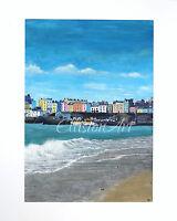 Original Tenby Harbour Gouache Watercolour Landscape Seascape Painting
