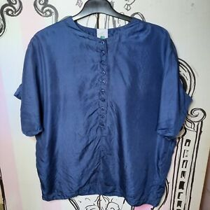 Size 16 Vintage C&A New Fast 100% SILK Navy Blue Short Sleeve Blouse Top