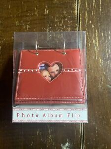 Red Heart Photo Flip Album Picture Holder Brand New In Box Leather Style