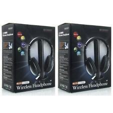 2X New 5 in 1 Wireless Headphone Earphone for MP3/MP4 PC TV CD FM Radio Black US