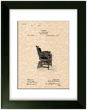 United States Patent Office Print Barber Chair Design 1891 A.J. Rollert Art
