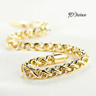 18K YELLOW GOLD GF ROUND DIAMOND CUT LINK CHAIN BRACELET 22CM LONG