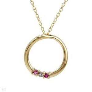 """Circle Necklace W/ One Diamond & Created Ruby in 14K/925 Gold plated Silver 18"""""""