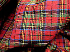 "RED BLUE GREEN PLAID TARTAN COTTON 44""W FABRIC KILT DRAPE DRESS SKIRT SUIT"