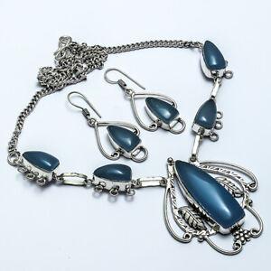 """Pretty Blue Chalceodny Handmade Ethnic Style Jewelry Necklace 18"""" JB"""