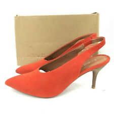 New Next Heels UK 9 EU 43 Bright Orange Faux Suede Pointy Slingback Party 301467