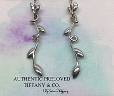 Mint Authentic Tiffany & Co Paloma Picasso Olive Leaf Vine Drop Silver Earrings