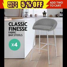 4x Bar stool Fabric Barstool Kitchen Dining Chair Chrome Steel Legs Grey 5902