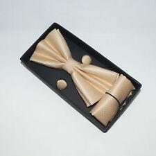 Mens Boxed BOW Tie Cufflinks Pocket Square Set - Stocking Filler Secret Santa